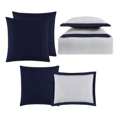 Everyday Hotel Border Navy 7 Piece King Duvet Set