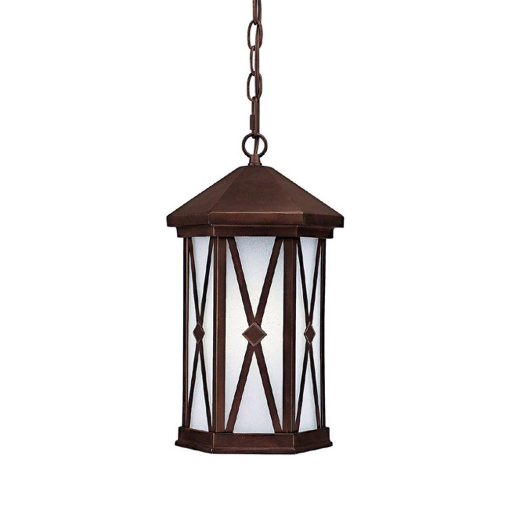 Filament Design 1-Light Burnished Bronze Frosted Seeded Glass Outdoor Fixture
