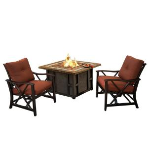Maris Square 3 Piece Aluminum Patio Fire Pit Conversation Set With Oatmeal Cushions