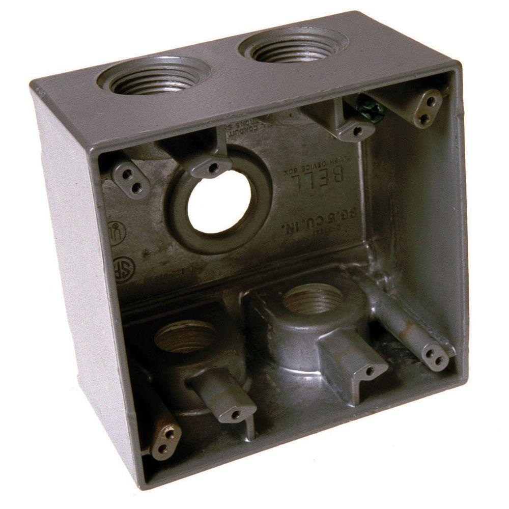 2-gang weatherproof deep box with five 1 in  outlets-5389-0b - the home  depot