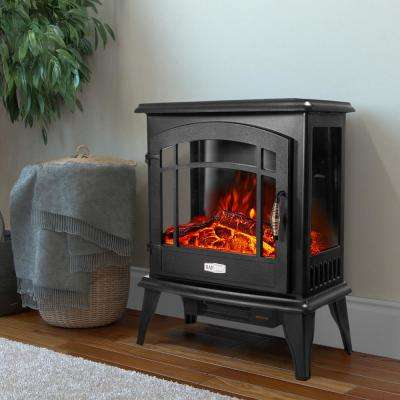 20 in. 1500-Watt Freestanding Compact Electric Infrared Quartz Fireplace Heater w/ 3-Sided Glass Panels in Vintage Black