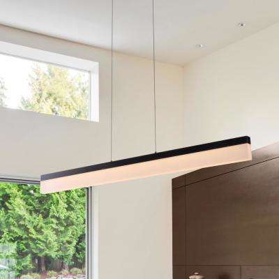 Procyon 21-Watt Black Integrated LED Linear Chandelier