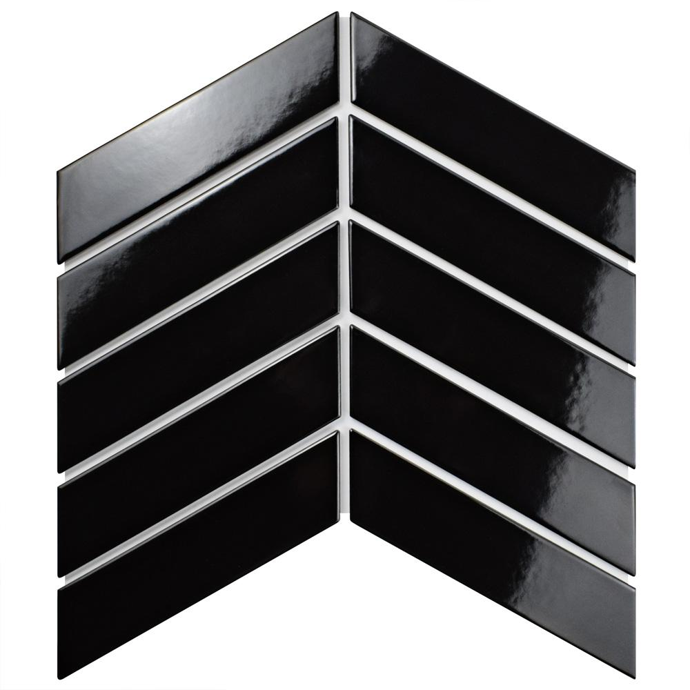 Metro Soho Chevron Glossy Black 1-3/4 in. x 7 in. Porcelain