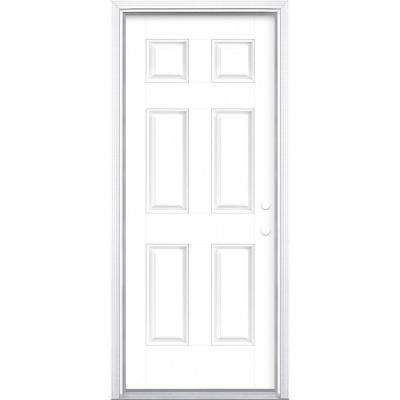 32 in. x 80 in. 6-Panel Ultra Pure White Left Hand Inswing Painted Smooth Fiberglass Prehung Front Door with Brickmold