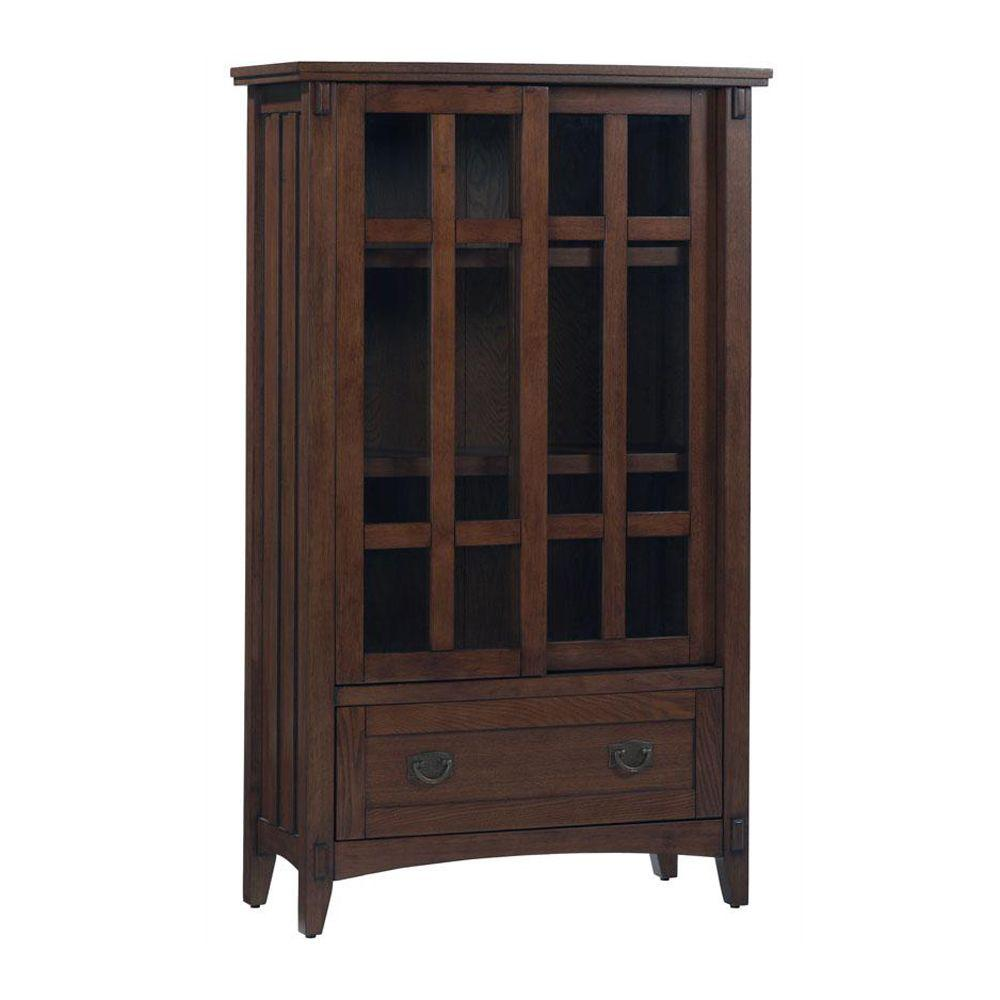 Home Decorators Collection 31 in. W Artisan Macintosh Oak Multimedia Cabinet with Glass Doors