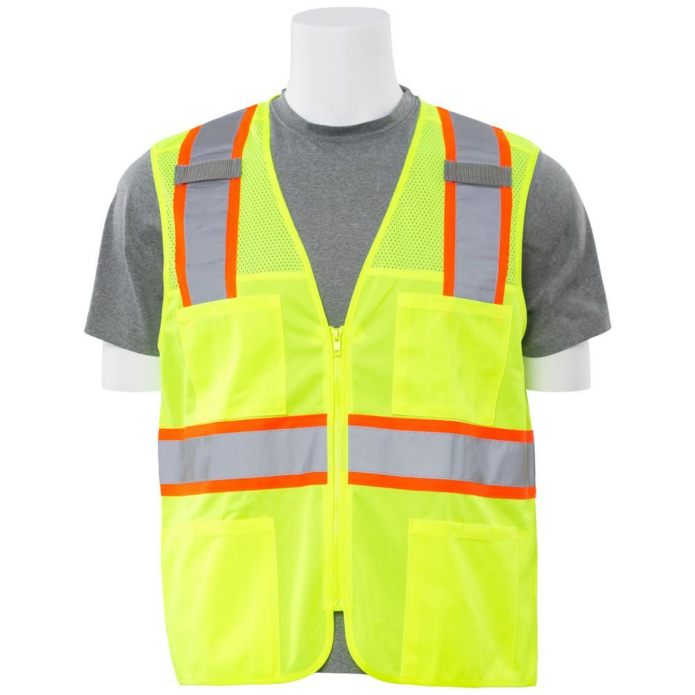 S149 2X Hi Viz Lime Poly Solid Front Mesh Back Safety Vest