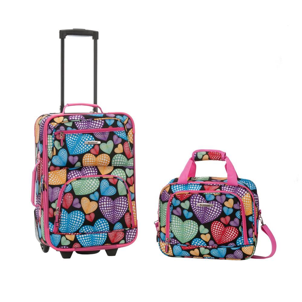 Rockland Rio Expandable 2-Piece Carry On Softside Luggage Set, Newheart