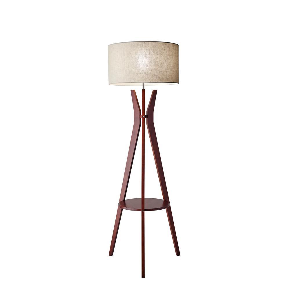 Adesso 60 In Beige Bedford Shelf Floor Lamp 3471 15 The