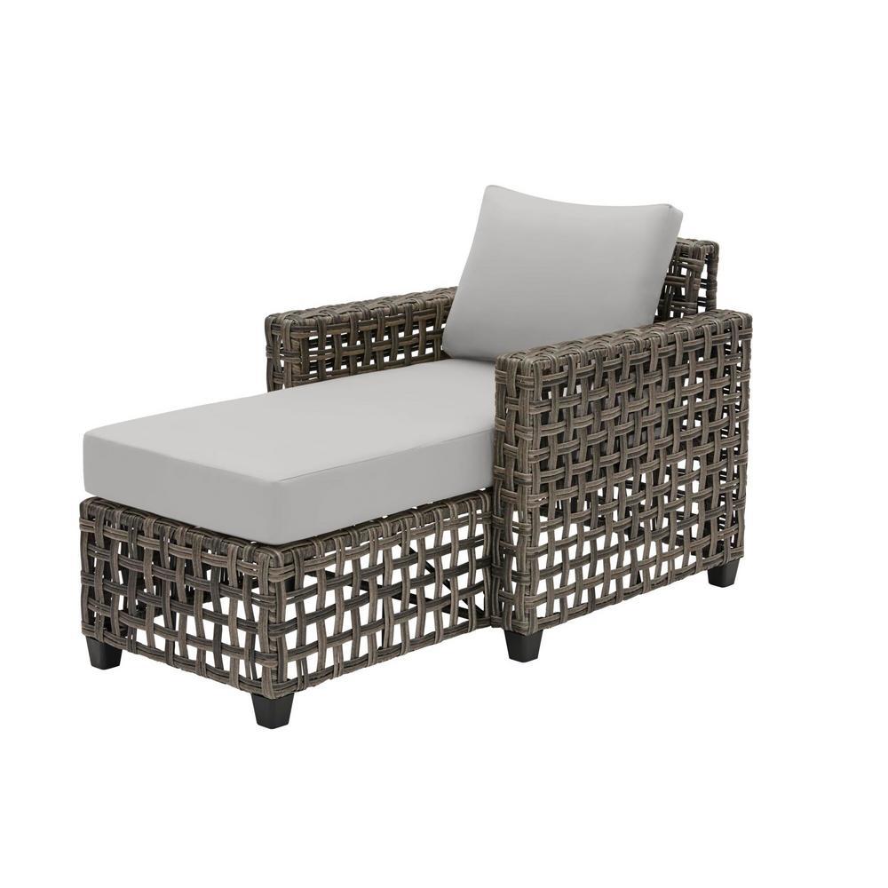 Briar Ridge Brown Wicker Outdoor Patio Chaise Lounge with CushionGuard Stone Gray Cushions