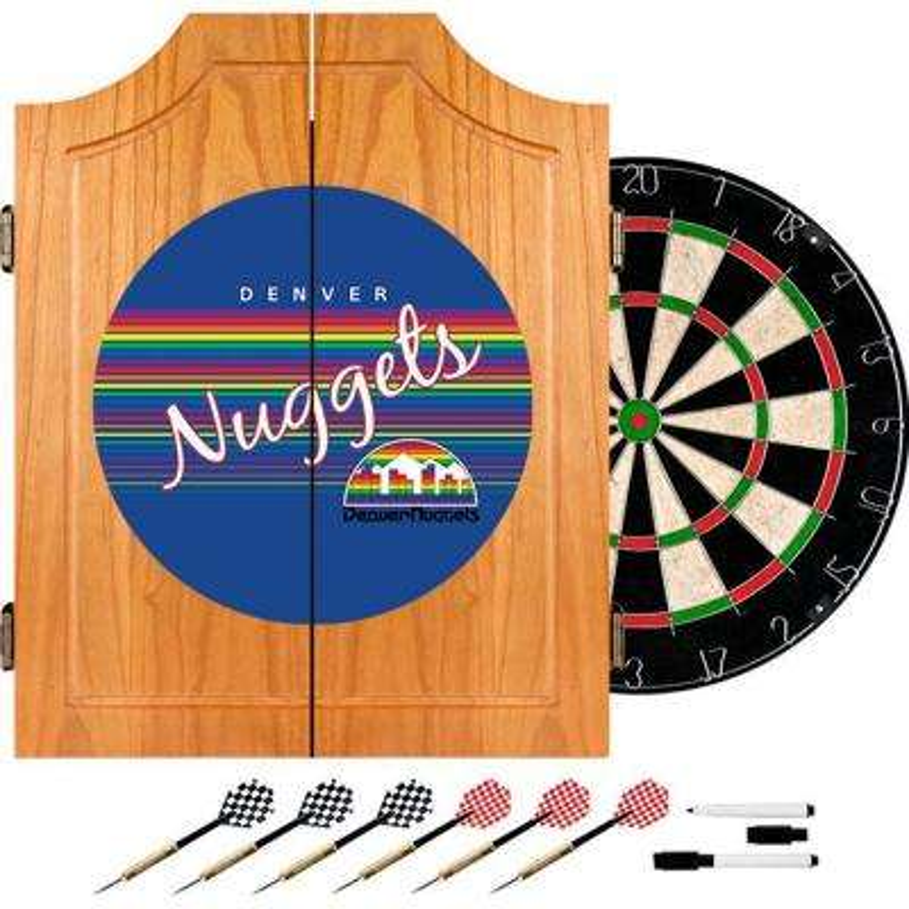 20.5 in. Denver Nuggets Hardwood Classics NBA Wood Dart Cabinet Set