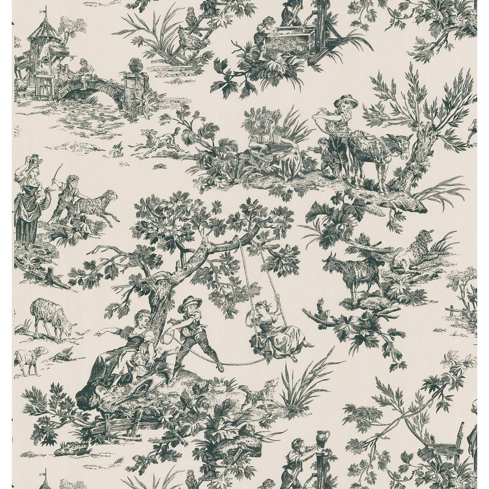 Brewster Bath Bath Bath III Cream Toile Wallpaper Sample