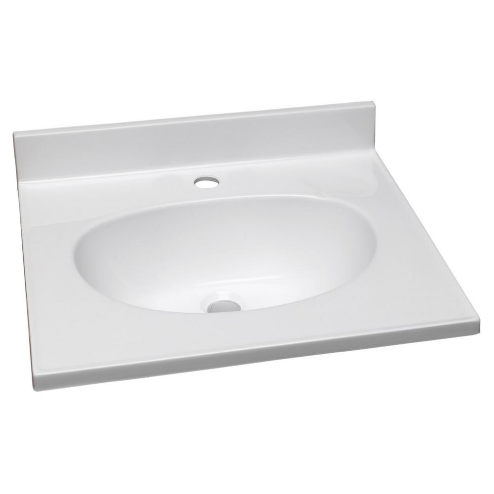 19 in. Single Faucet Hole Cultured Marble Vanity Top with Solid