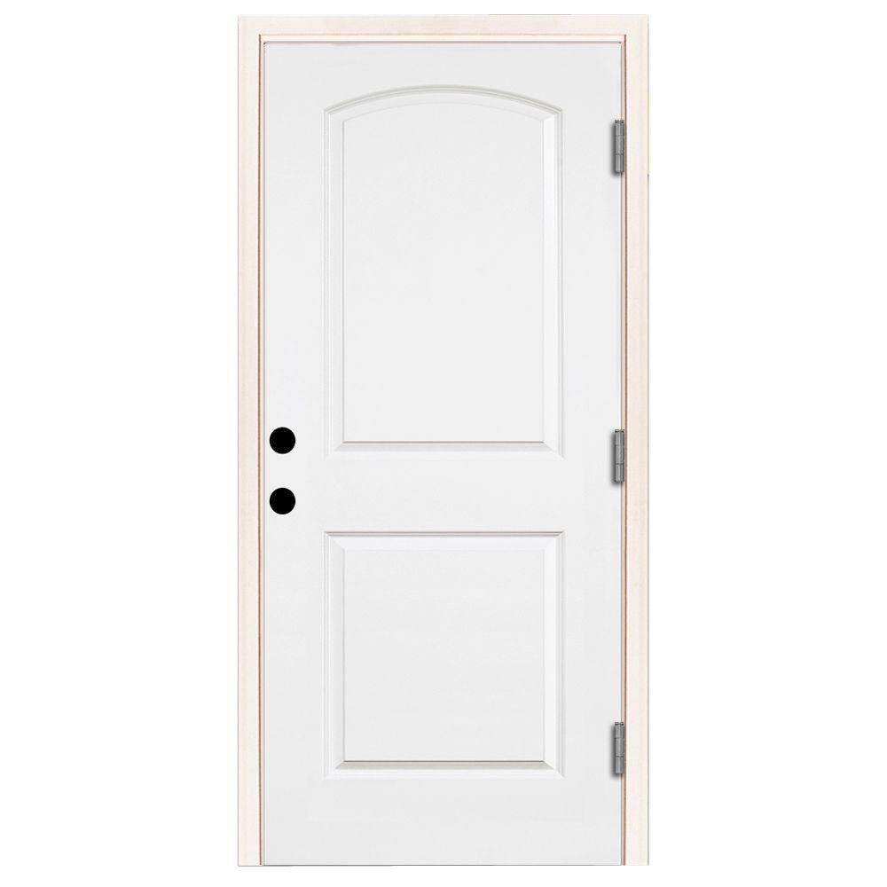Steves & Sons 32 in. x 80 in. Premium 2-Panel Roundtop Left-Hand Outswing Primed White Steel Prehung Front Door with 4-9/16 in. frame