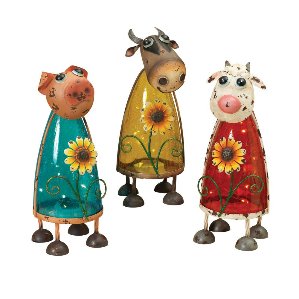12 in. Tall Solar Powered Barn Yard Friend Figurines (3-Set)