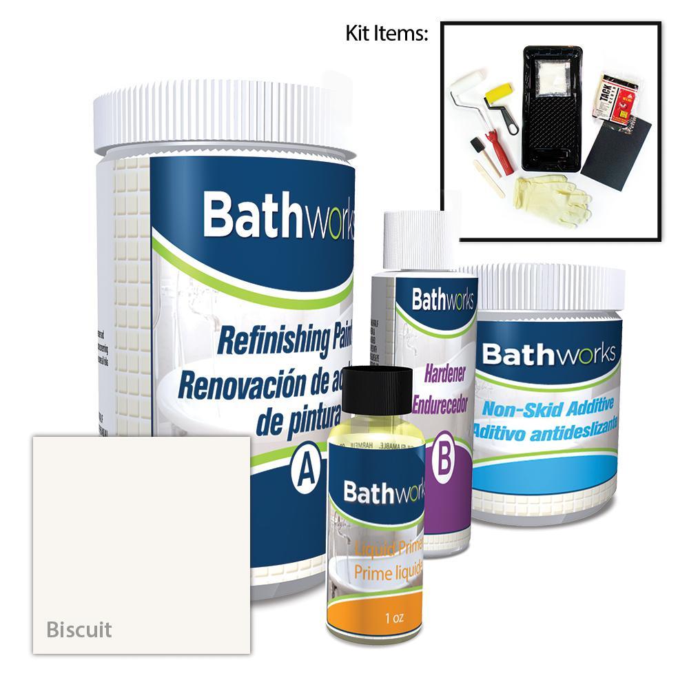 BATHWORKS 22 oz. DIY Bathtub Refinishing Kit with Slip Guard in Biscuit