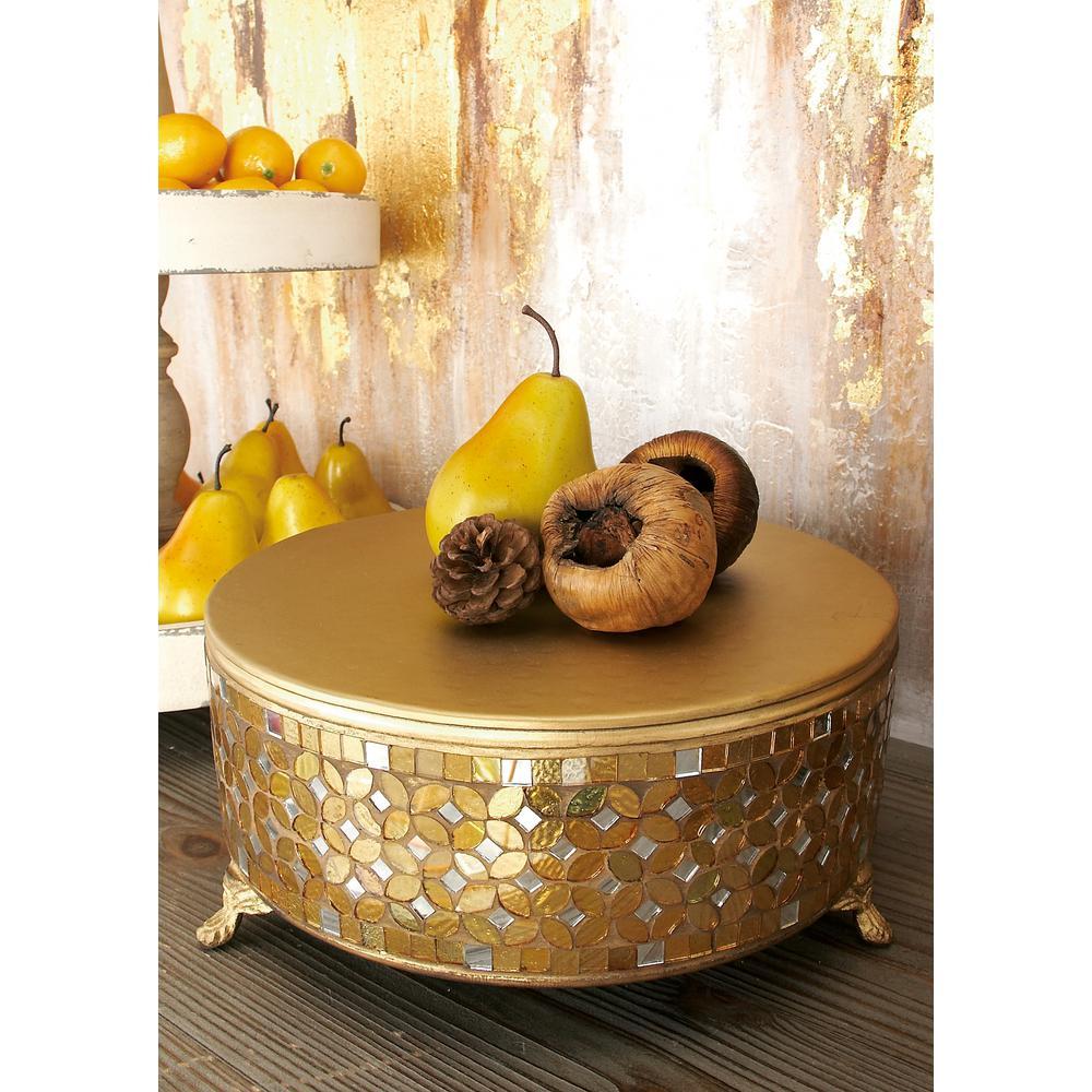 Gold Iron and Glass Mosaic Round Cake Stand (Set of 3)