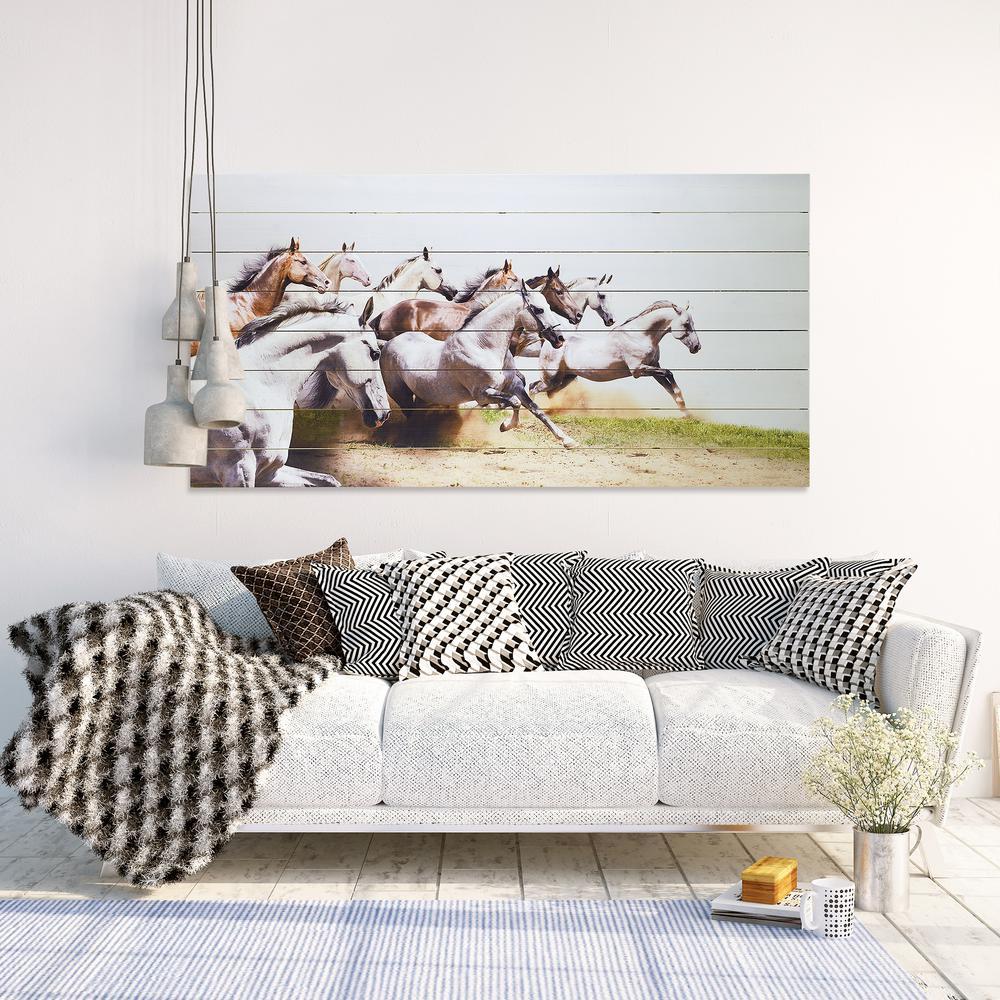"60 in. x 30 in. ""Charge"" Arte de Legno Digital Print on Solid Wood Wall Art"