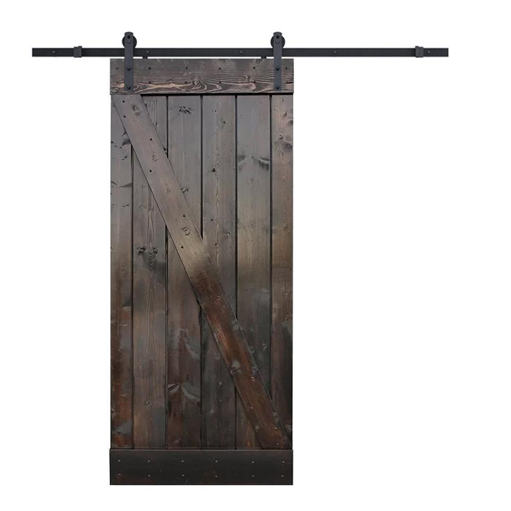 Calhome 30 In X 84 Z Bar Dark Coffee Sliding Barn Door With