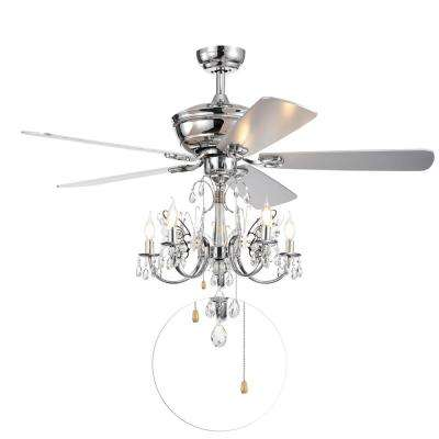 Silver Orchid Finlayson 52 in. Indoor Chrome Hand Pull Chain Ceiling Fan with Light Kit
