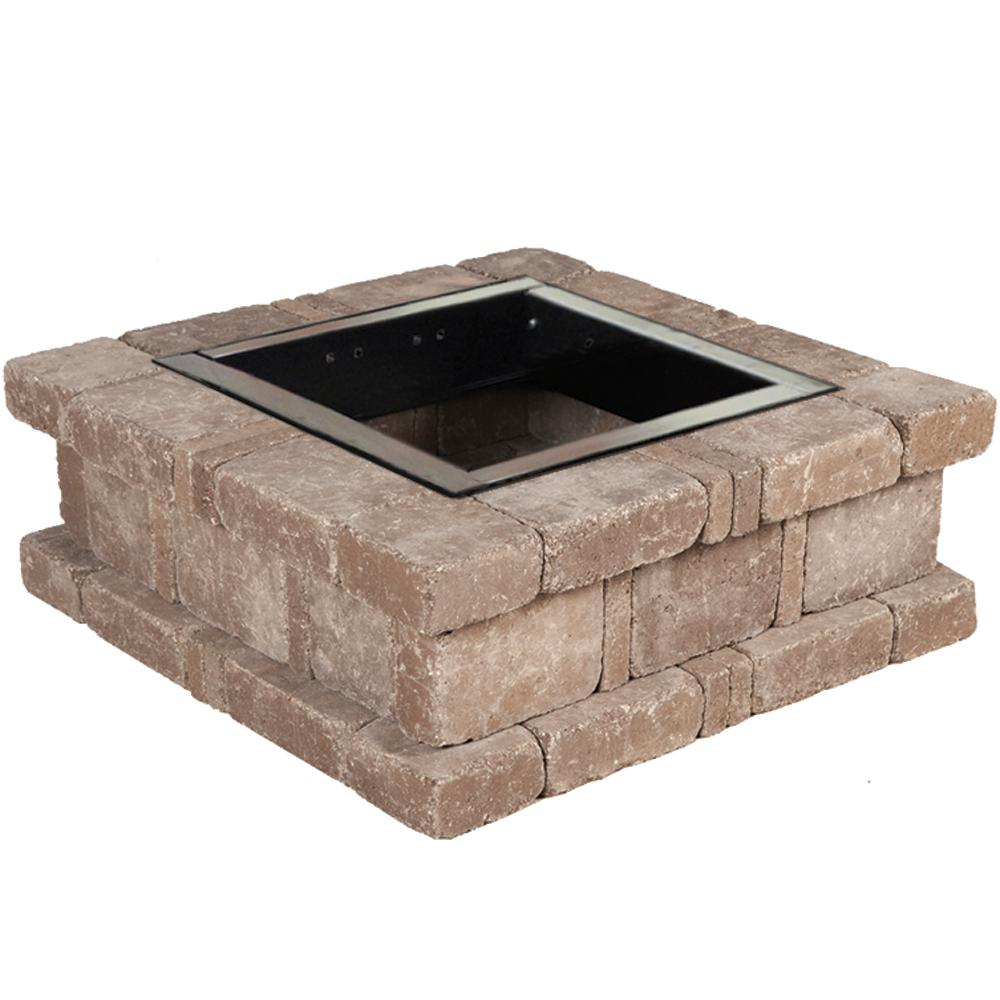 RumbleStone 38.5 in. x 14 in. Square Concrete Fire Pit Kit