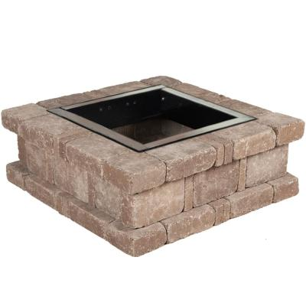 RumbleStone 38.5 in. x 14 in. Square Concrete Fire Pit Kit No. 1 in Cafe