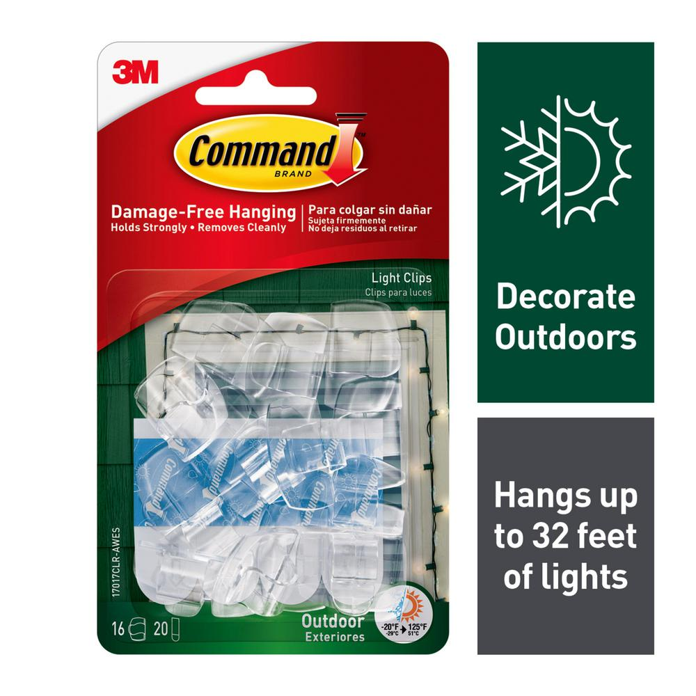 Command Clear Small Outdoor Light Clips