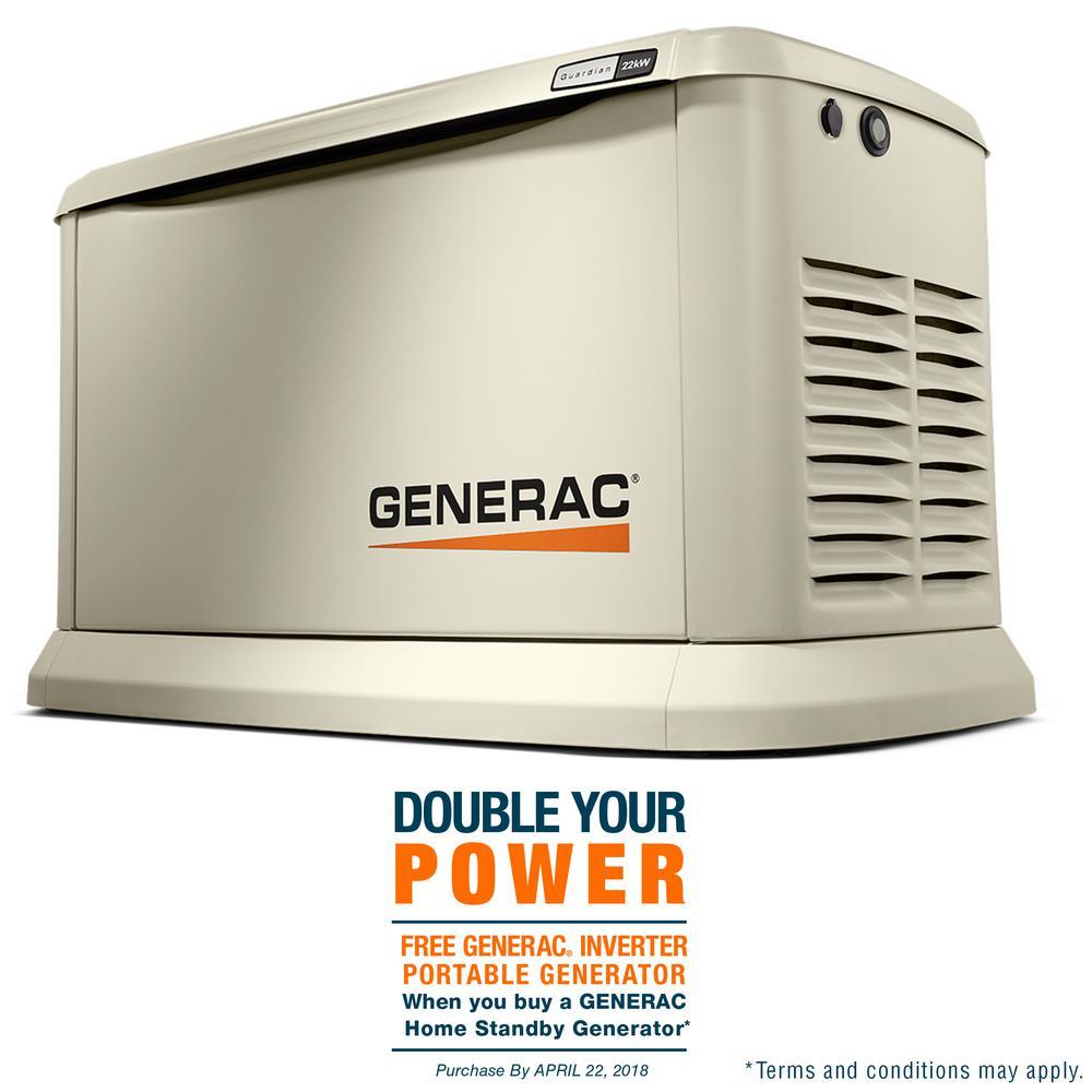 22,000-Watt (LP)/19,500-Watt (NG) Air Cooled Standby Generator