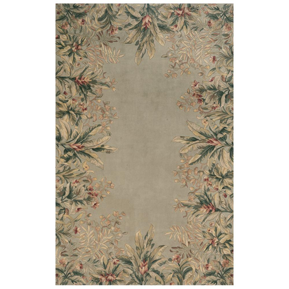 Kas Rugs Lush Border Tropics Sage 2 ft. 6 in. x 4 ft. 6 in. Area Rug