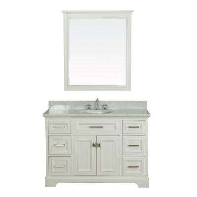 Yorkshire 49 in. W x 22 in. D Vanity in White with Marble Vanity Top in White with White Basin and Mirror