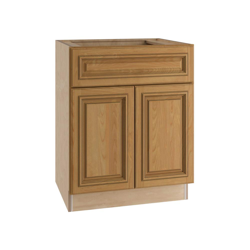 Home Decorators Collection 30x34.5x24 in. Clevedon Assembled Sink Base with 2 Doors and 1 False Drawer Front in Toffee Glaze