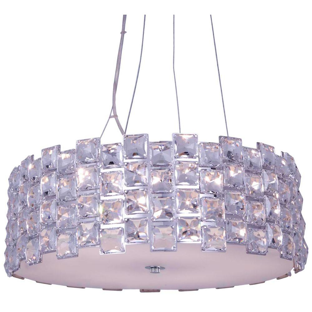 Checkolite Sky 6-Light Chrome Crystal Hanging Chandelier