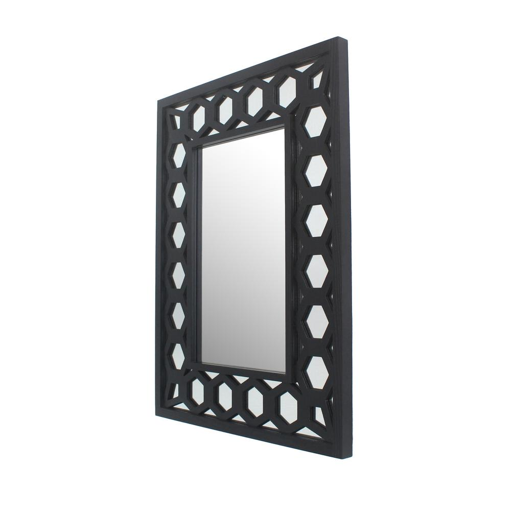 Black Wood Decorative Wall Mirror