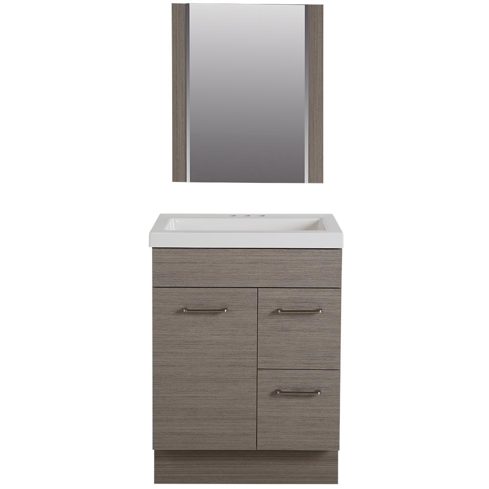 Glacier Bay Jayli 24.5 in. W Vanity in Haze with Cultured Marble ...