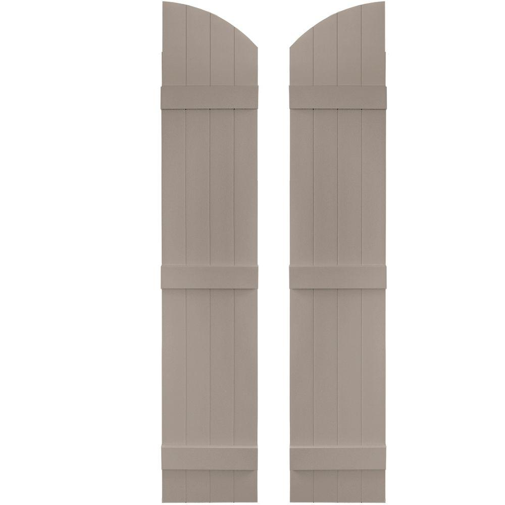 Builders Edge 14 in. x 69 in. Board-N-Batten Shutters Pair, 4 Boards Joined with Arch Top #008 Clay