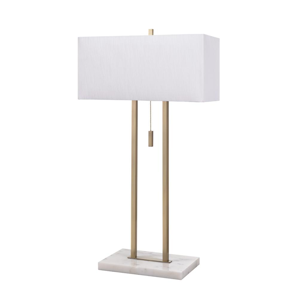 Emilio 29 in. Antique Brass Table Lamp with White Faux Silk
