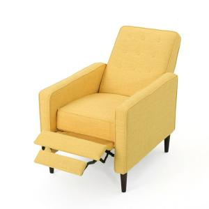 Muted Yellow Button Back Fabric Recliner