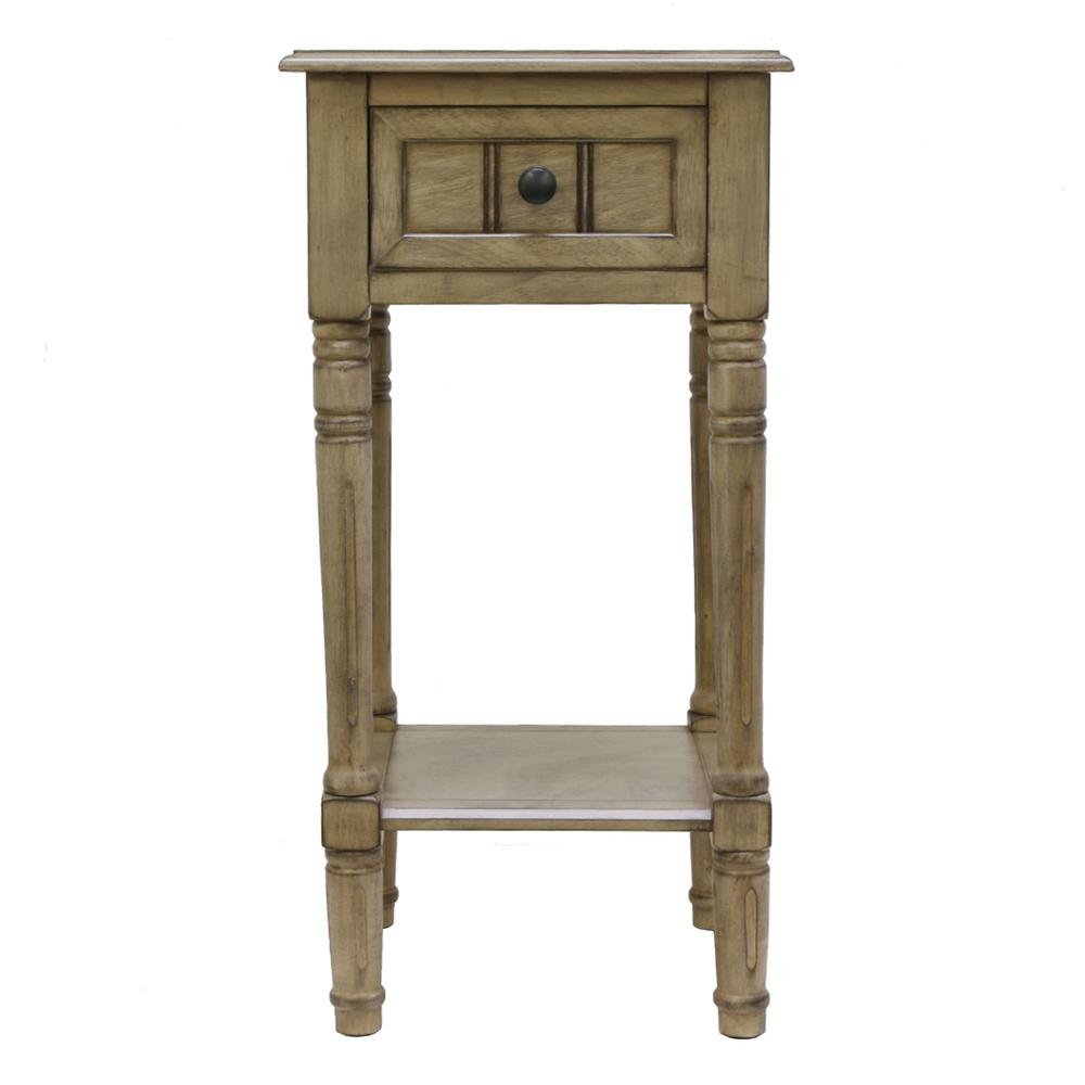 Decor Therapy Simplify Oak 1 Drawer End Table Fr8670 The Home Depot