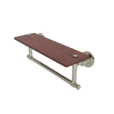 Washington Square Collection 16 in. Solid IPE Ironwood Shelf with Integrated Towel Bar in Polished Nickel
