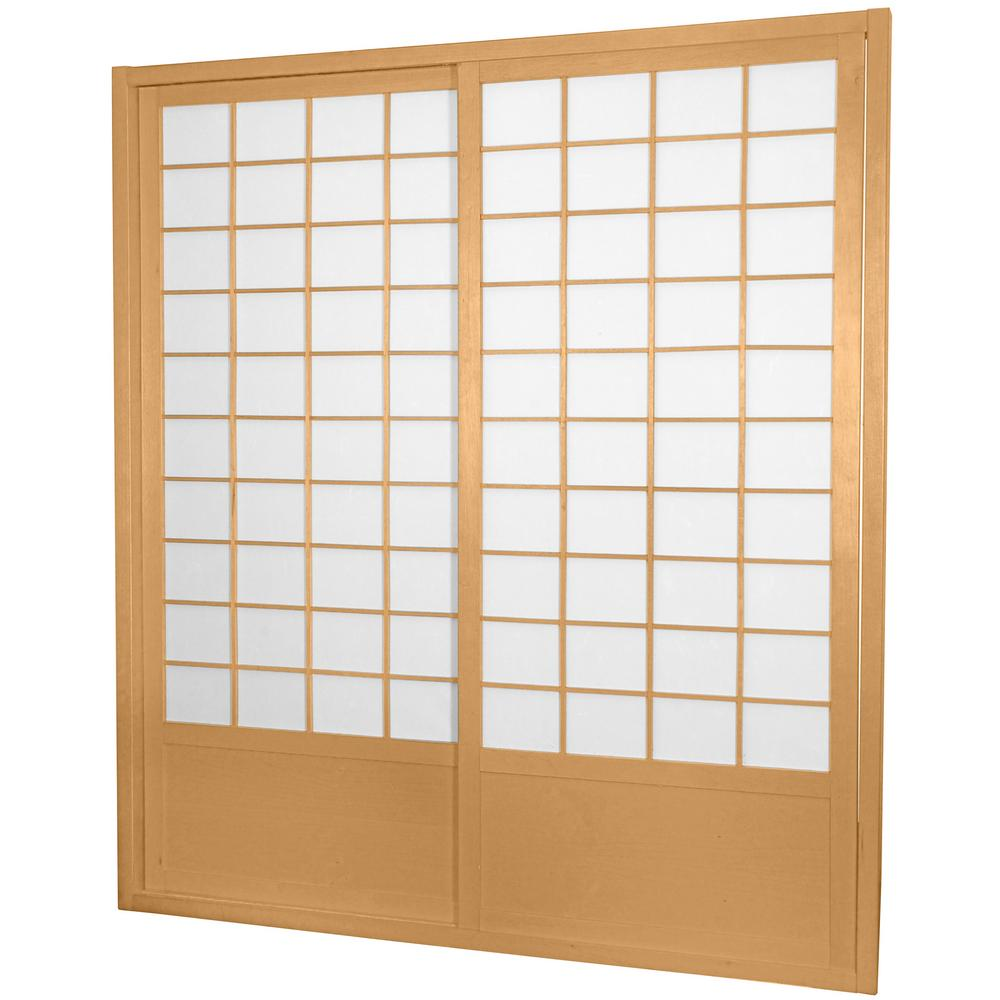Oriental Furniture 7 Ft Natural Double Sided 2 Panel Sliding Door
