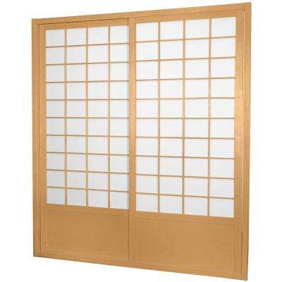 7 ft. Natural Double Sided 2-Panel Sliding Door