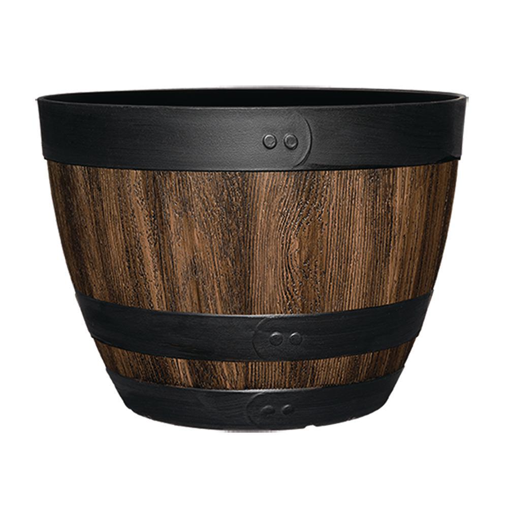 Napa 16 in. Kentucky Walnut Resin Wine Barrel Planter