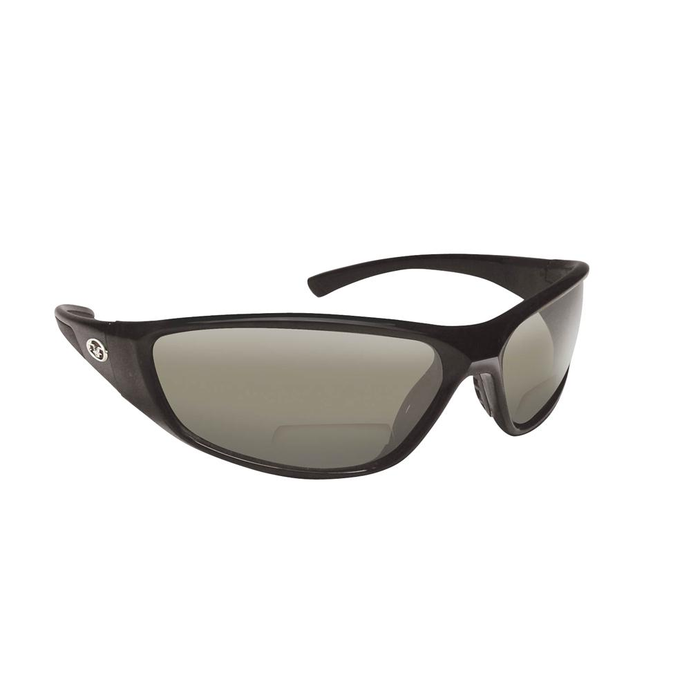 d357bb130d74 Flying Fisherman Falcon Polarized Sunglasses Black Frame with Smoke Lens  Bifocal Reader 250