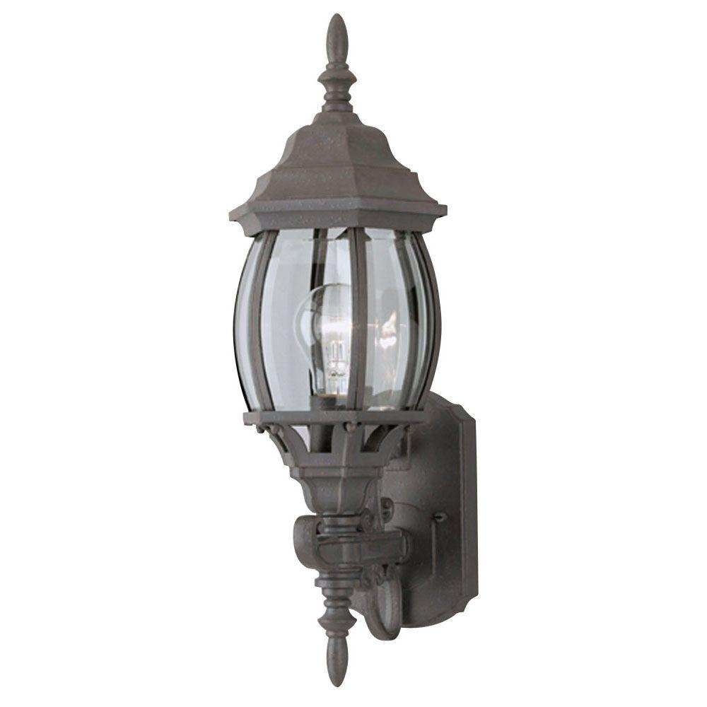 french outdoor lighting. Westinghouse 1-Light Textured Rust Patina Exterior Wall Lantern With Cast Aluminum And Clear Curved French Outdoor Lighting A