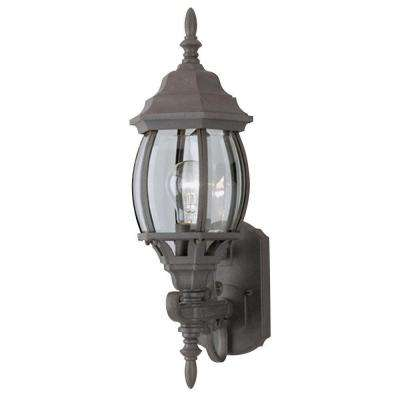 1-Light Textured Rust Patina Exterior Wall Lantern with Cast Aluminum and Clear Curved Beveled Glass Panels