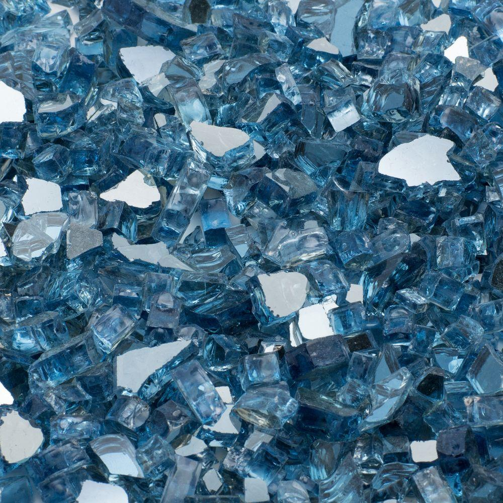 Margo Garden Products 1/2 in. 25 lb. Medium Sky Blue Reflective Tempered Fire Glass