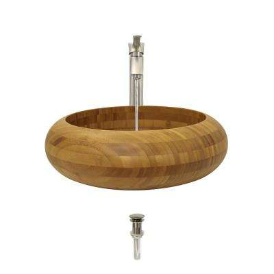 Vessel Sink in Bamboo with 726 Faucet and Pop-Up Drain in Brushed Nickel