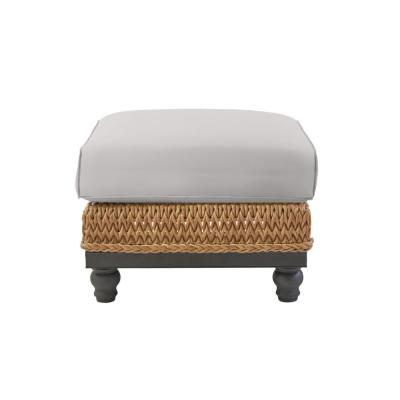 Camden Light Brown Seagrass Wicker Outdoor Patio Ottoman with CushionGuard Stone Gray Cushions