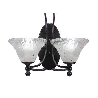 2-Light Dark Granite Sconce with Frosted Ribbed Glass