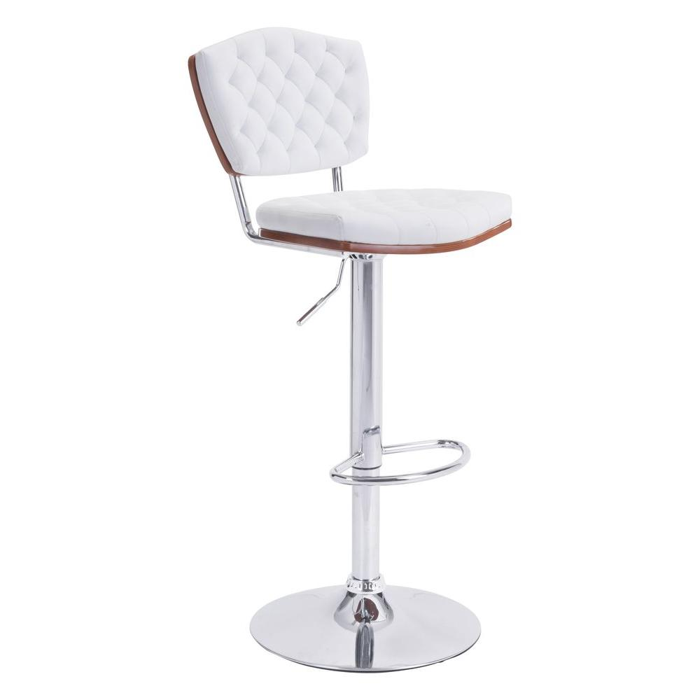 Zuo Tiger Adjule Height White Cushioned Bar Stool