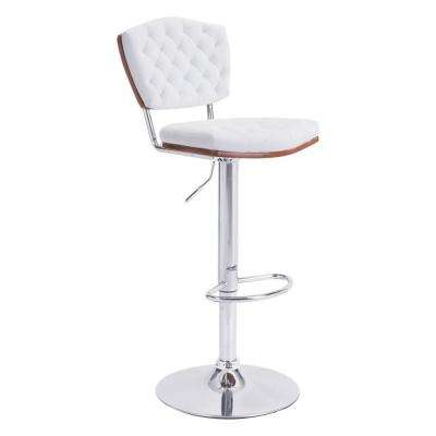 Tiger Adjustable Height White Cushioned Bar Stool